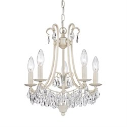 Sterling 5 Light Chandelier in Antique Cream and Clear Crystal