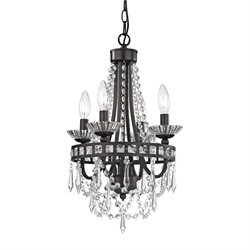Sterling Chesham 4 Light Chandelier in Dark Bronze and Clear Crystal