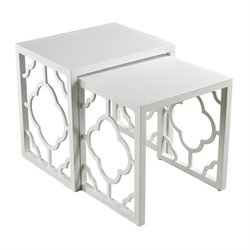 Sterling Marrakech 2 Piece Nesting Table Set in Gloss White