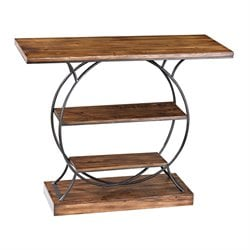 Sterling Leominster Console Table in Medium Oak and Restoration Gray