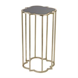 Sterling End Table in Soft Gold and Gloss Black