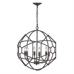 Sterling Strathroy 6 Light Chandelier in Aged Bronze
