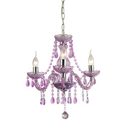 Sterling Theatre 3 Light Chandelier in Purple and Chrome