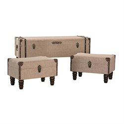 Sterling 3 Piece Trunk Ottoman Set in Sand Colored Linen and Brown