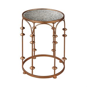 Sterling Heavy Metal Accent Table in Copper and Antique Mirror
