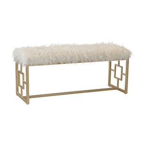 Sterling Faux Fur Bench in White and Gold