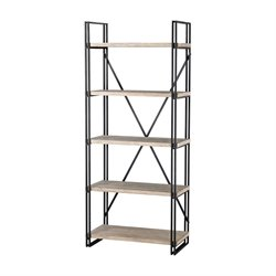 Sterling Gustave 5 Shelf Bookcase in Black and Bleached Driftwood