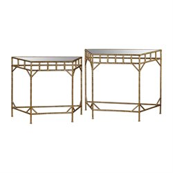 Sterling 2 Piece Mirrored Nesting Table Set in Gold Leaf
