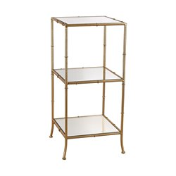 Sterling 2 Shelf Mirrored Bookcase in Gold Leaf