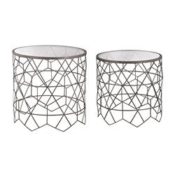 Sterling Vector 2 Piece End Table Set in Black