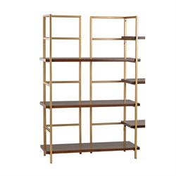 Sterling Balart 3 Shelf Bookcase in Walnut and Gold