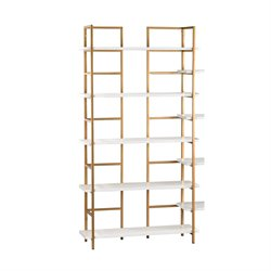 Sterling White and Gold 5 Shelf Bookcase