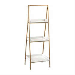 Sterling White and Gold 3 Shelf Bookcase