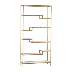 Sterling 5 Shelf Mirrored Bookcase in Gold
