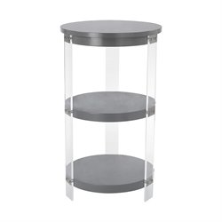 Sterling Gothenburg Accent Table in Gray and Clear