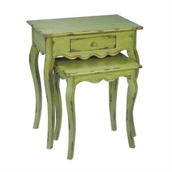 Sterling Verde Nesting Table in Green and Light Distressing (Set of 2)