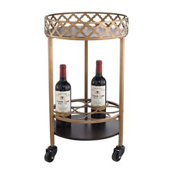 Sterling Bar Cart Bar Cart in Gold and Walnut
