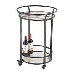 Sterling Accent Table Bar Cart in Black and Gold Print On Glass