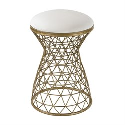 Sterling Accent Table End Table in Gold and Cream Linen