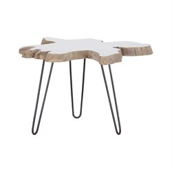Sterling Jambi Accent Table in White Teak and Black