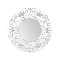 Sterling Surrey Decorative Mirror in Silver and White