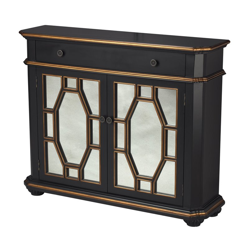 Sterling cabinet accent cabinet in black and silver 88 1211 for Black and silver cabinet