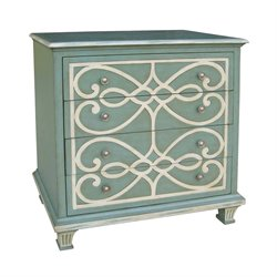 Sterling Madeleine Accent Cabinet in Blue and White