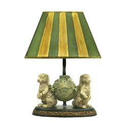 Sterling Bunnies Bearing Dinner Table Lamp in Alman White and Green