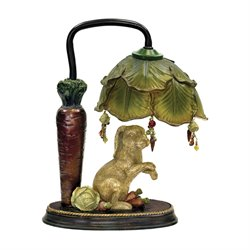 Sterling Rabbit Under Leaf Table Lamp in Alman Antique White and Green