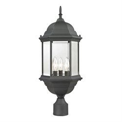 Cornerstone Spring Lake 3 Light Outdoor Post Lantern in Matte Black