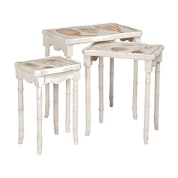 GuildMaster Garden View 3 Piece Nesting Table Set in White