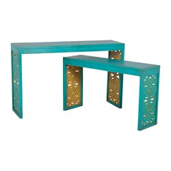 GuildMaster Parsons 2 Piece Nesting Table Set in Blue and Lime