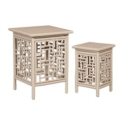 GuildMaster Thyme Garden 2 Piece Nesting Table Set in Gray