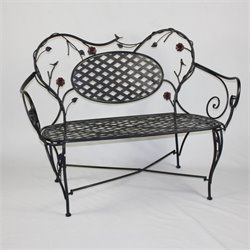 4D Concepts Bird and Flower Patio Bench in Black