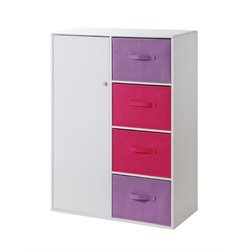 Girl's Storage Armoire in White and Pink