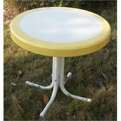 4D Concepts Metal Retro Patio Coffee Table in Yellow