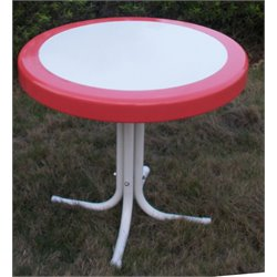4D Concepts Metal Retro Patio Coffee Table in Coral