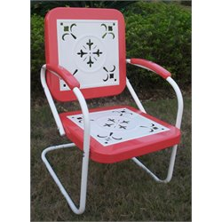 Metal Retro Patio Chair in Coral