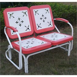 Metal Retro Patio Glider Loveseat in Coral