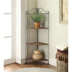 3 Tier Metal Corner Bookcase in Black