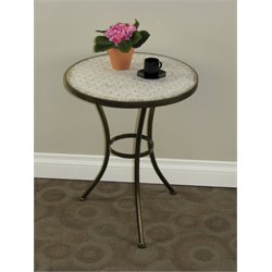 4D Concepts Travertine Round End Table in Antique Tuscany