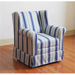 Boy's Striped Wingback Chair in Blue