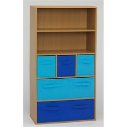 Boy's Storage Bookcase in Beige and Blue