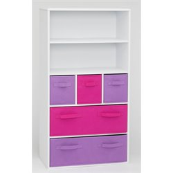 Girl's Storage Bookcase in White and Pink