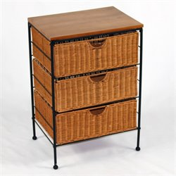 4D Concepts 3 Drawer Wicker Chest in Caramel