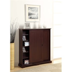 4D Concepts Sliding Door Media Storage Cabinet in Brown