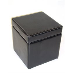 4D Concepts Cube Faux Leather Storage Ottoman in Black