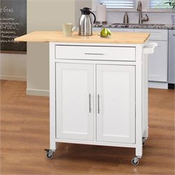 4D Concepts Vermont 2 Door Kitchen Cart with Natural Top in White