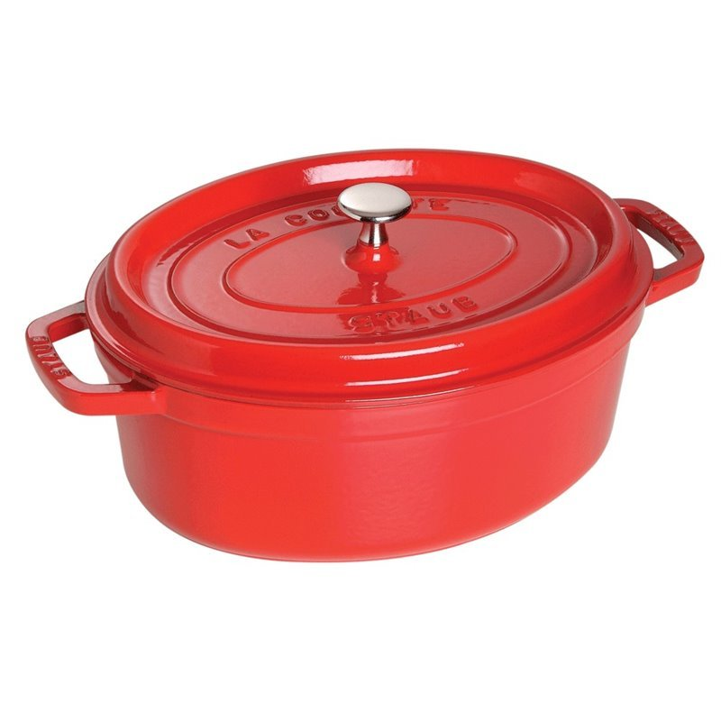 Staub 7 qt. Oval Cast Iron Cocotte in Cherry