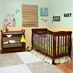 Athena Nadia 3 in 1 Convertible Crib with Changing Table in Espresso